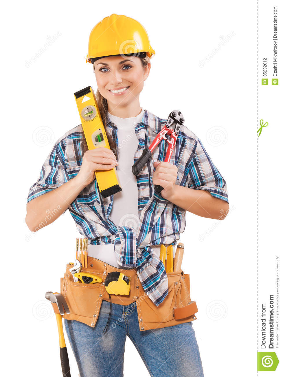 Beautiful Female Worker Holding Tools Stock Photography