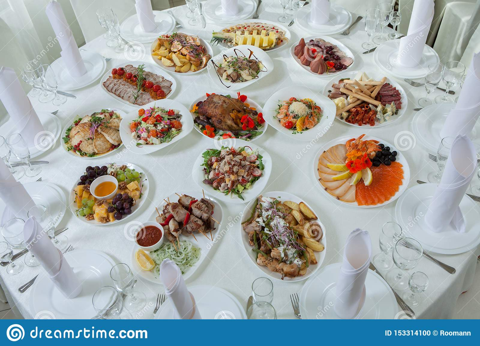 Beautiful Festive Table Served For Wedding Celebration Dinner At Home Or Restaurant Interior Full Of Food A Stock Photo Image Buffet 153314100