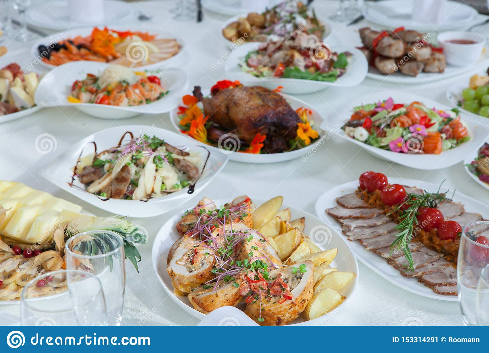 Beautiful Festive Table Served For Wedding Celebration Dinner At Home Or Restaurant Interior Full Of Food A Stock Image Business Fresh 153314291