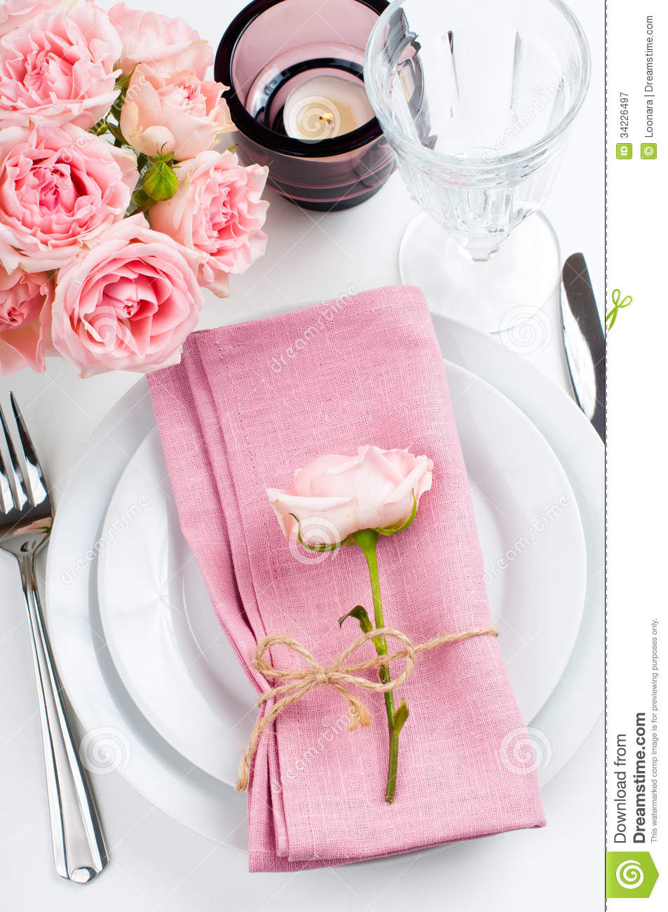 Beautiful Festive Table Setting With Roses Stock Image - Image of ...