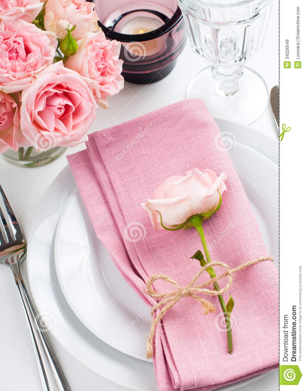 Beautiful Table Settings beautiful festive table setting with roses royalty free stock