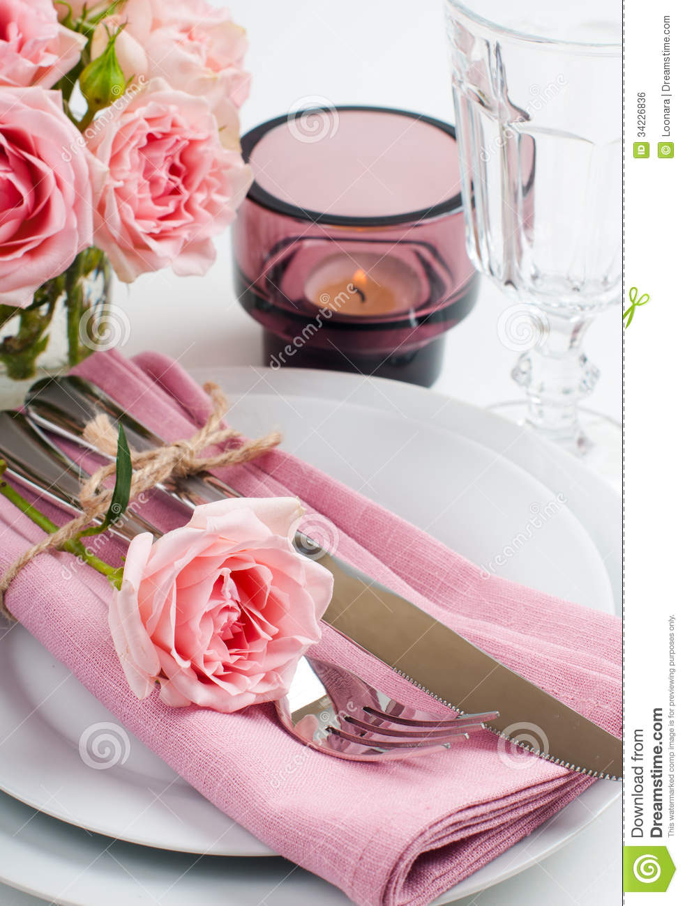 Beautiful festive table setting with roses royalty free for Beauty on table