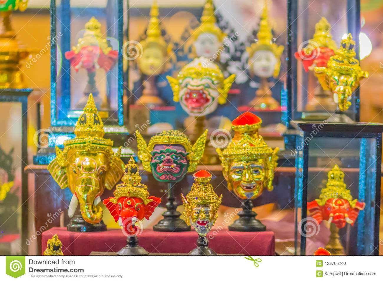Beautiful fine art masks of Hua Khon, the Thai traditional mask for dancing performance. Khon is Thai traditional dance of the Ram