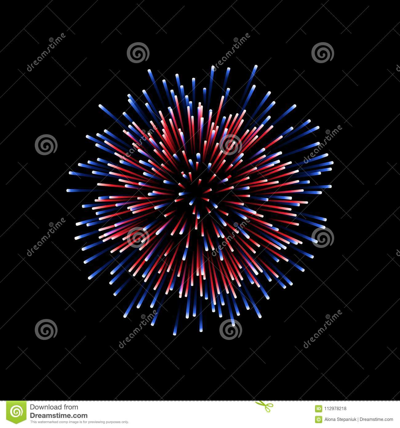 Beautiful firework. Couple romantic salute isolated on black background. Light decoration firework for Christmas, New