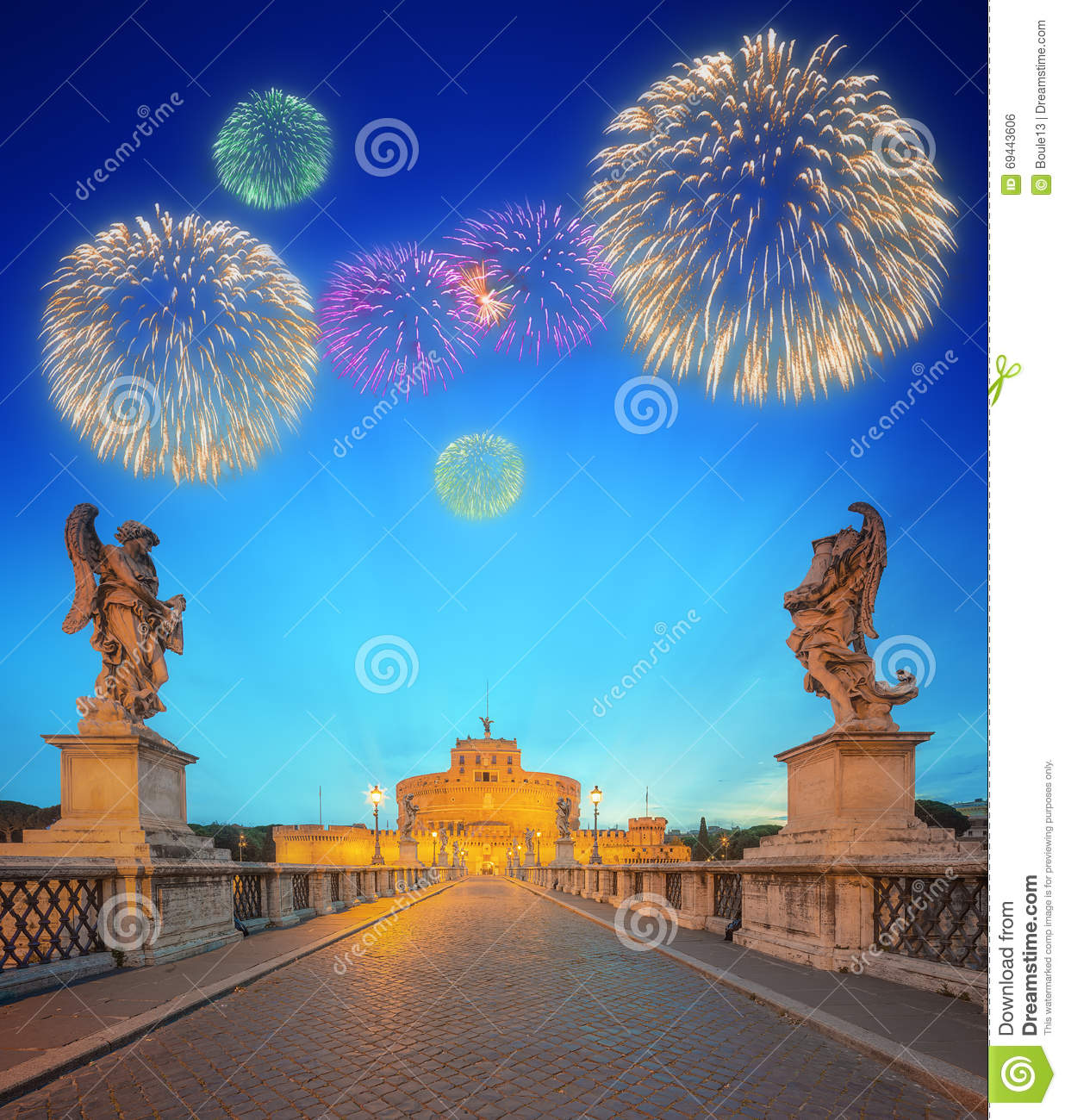Beautiful Fireworks Under Castle And Bridge Of The Holy Angel In Rome Stock Photo Image 69443606