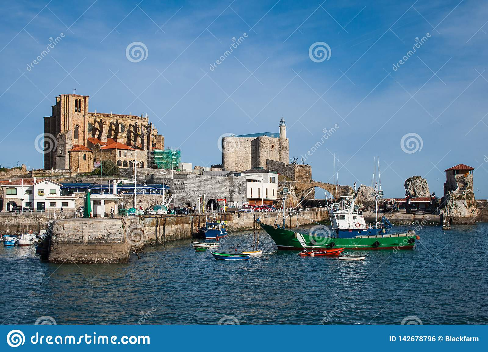 Beautiful fishing village with lighthouse, Castro Urdiales