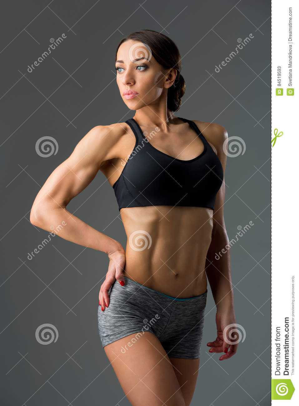 Beautiful Fit Girl In Sport Bra And Shorts Stock Image - Image of ... 5f5288921