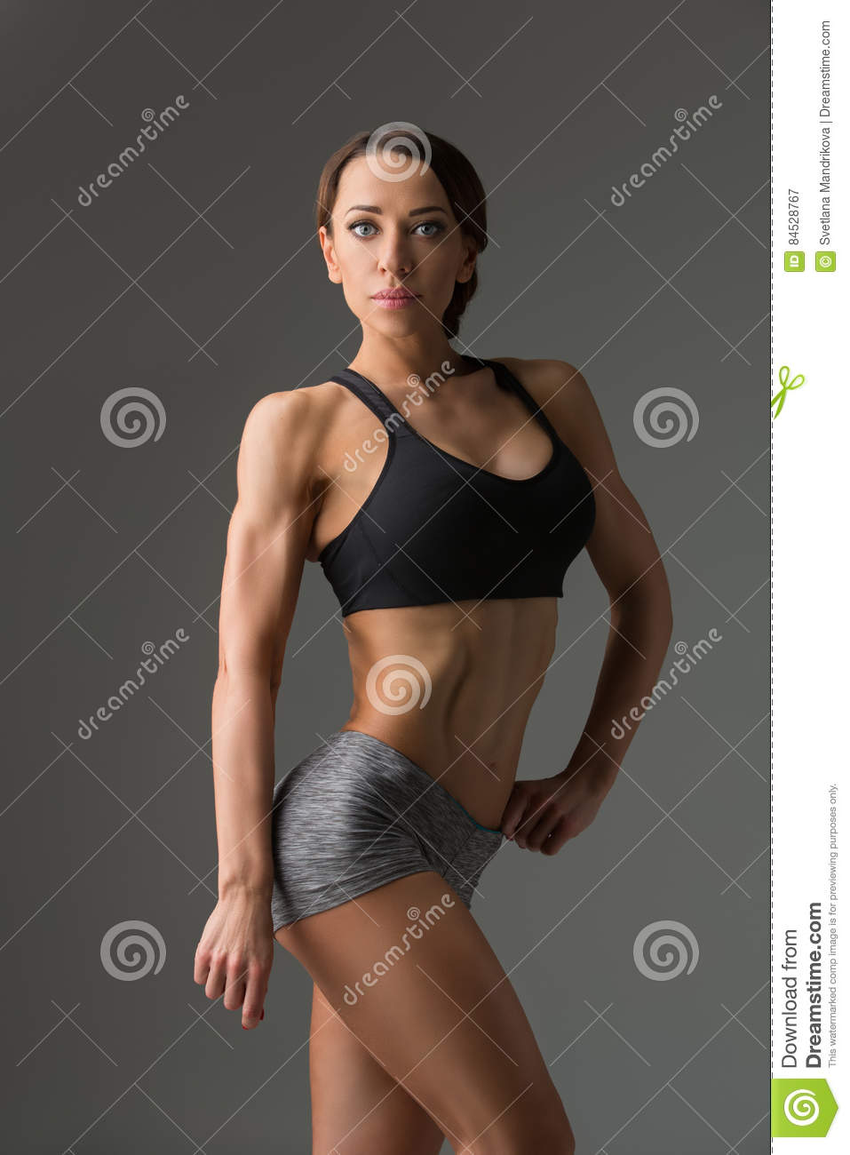 Beautiful Fit Girl In Sport Bra And Shorts Stock Image