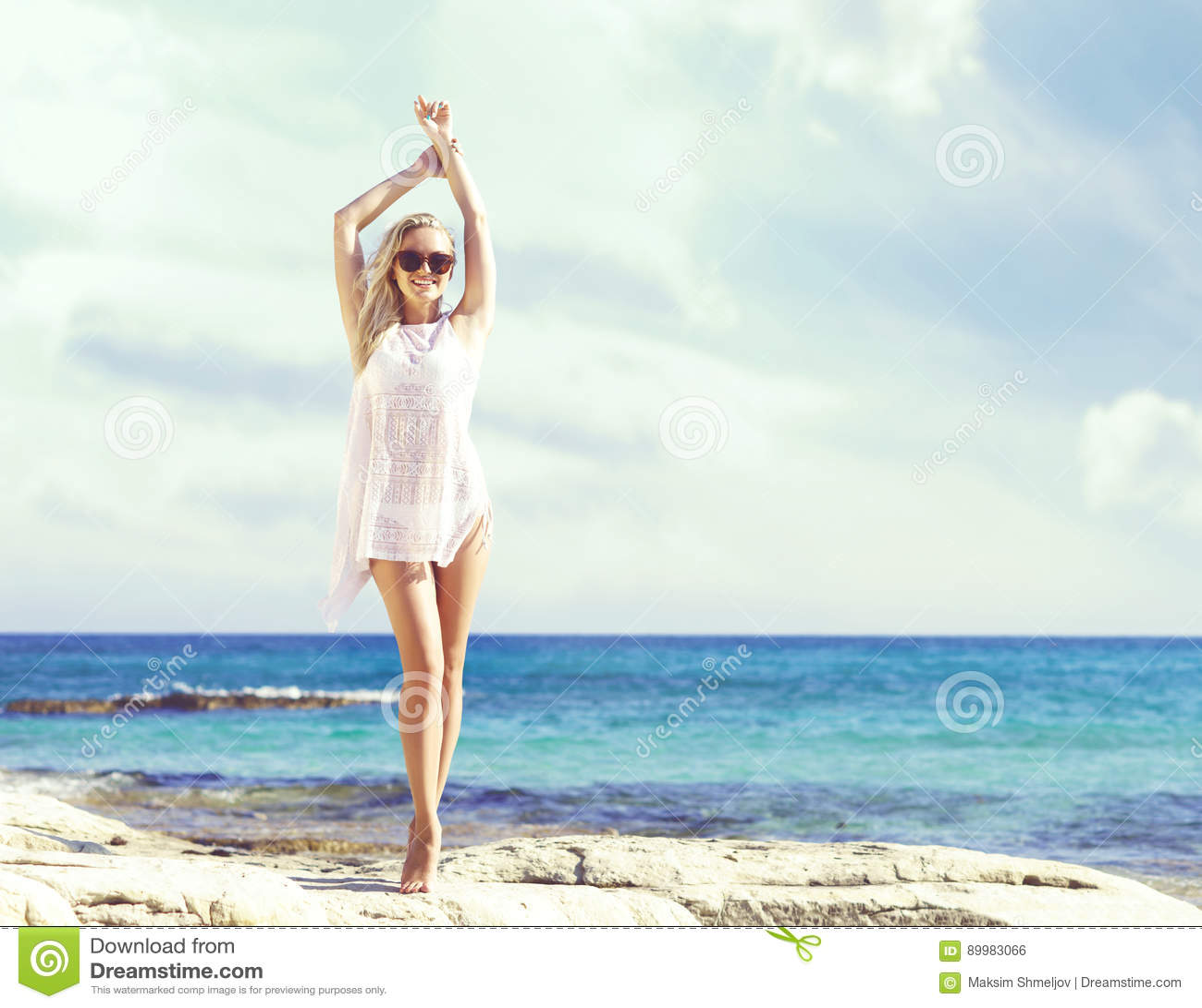 Woman With Beautiful Body In Bikini At Beach Stock Image: Beautiful, Fit And Girl In White Bikini Posing On A Beach