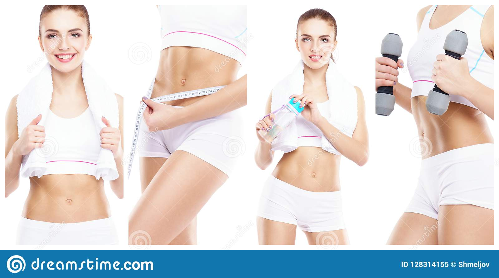 Beautiful and fit woman in a fitness workout. Isolated collage. Sport, nutrition, health and weight loss concept.