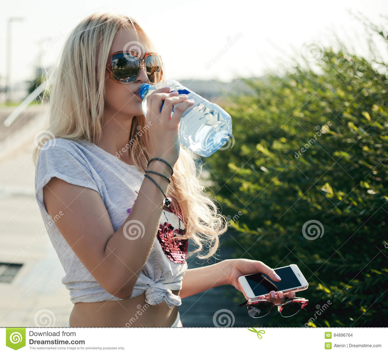 Beautiful Woman Face Over Beach Sunset Stock Image: Beautiful Fitness Athlete Blond Young Woman Drinking Water