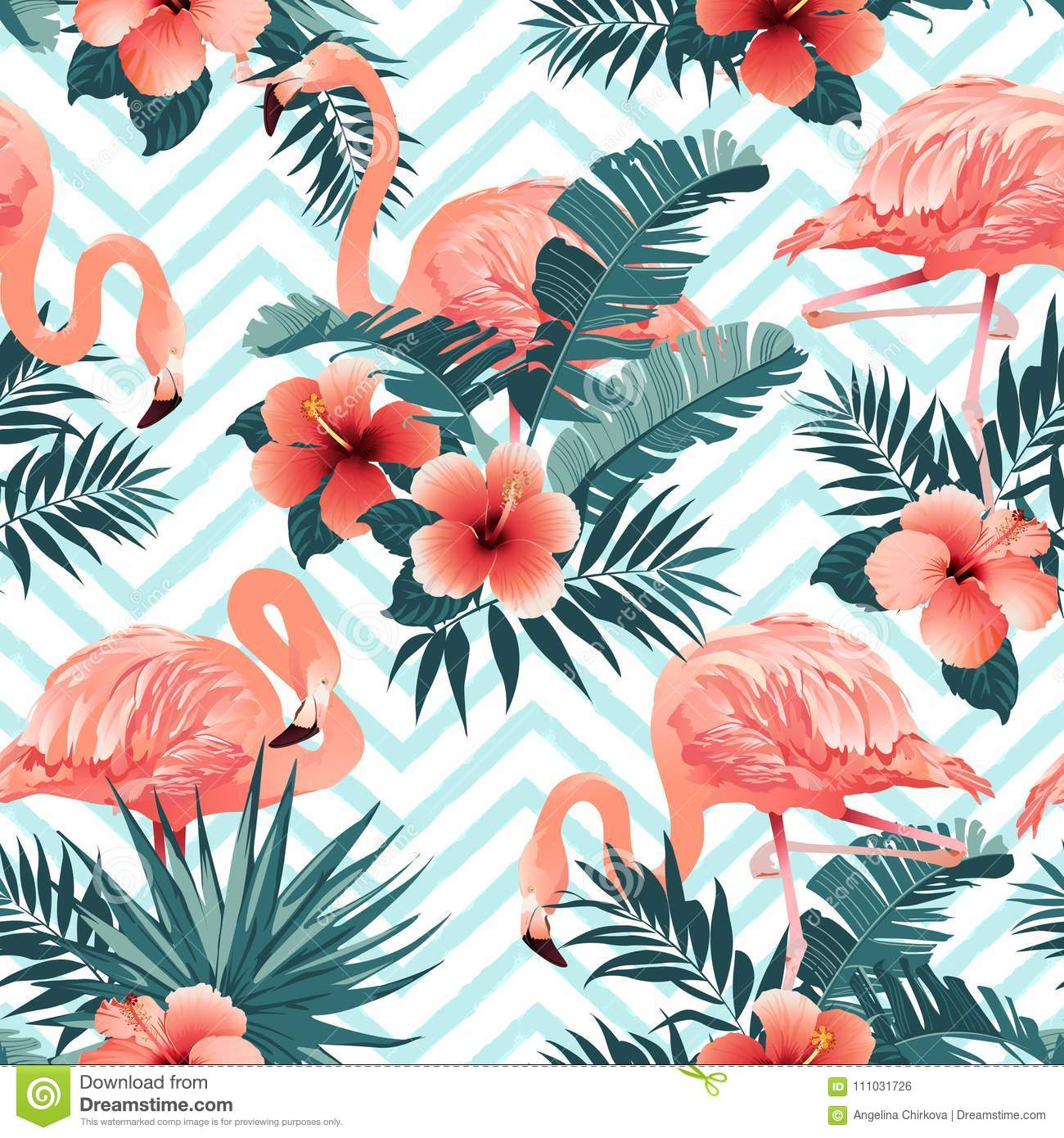 Beautiful Flamingo Bird And Tropical Flowers Background Seamless
