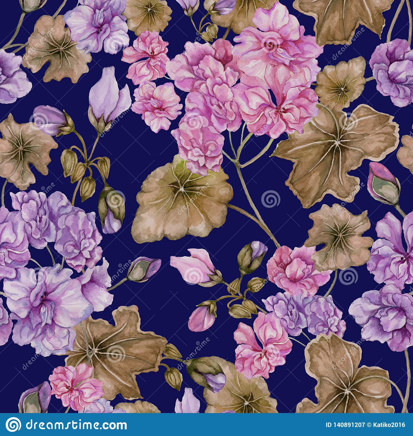 Beautiful floral background with pelargonium flowers and leaves on blue background. Seamless botanical pattern.