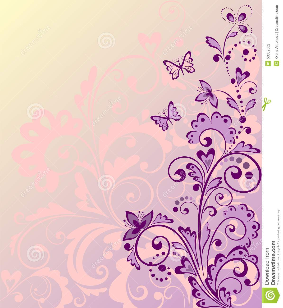 Beautiful Floral Border Stock Vector - Image: 53352502 Vintage Border Vector