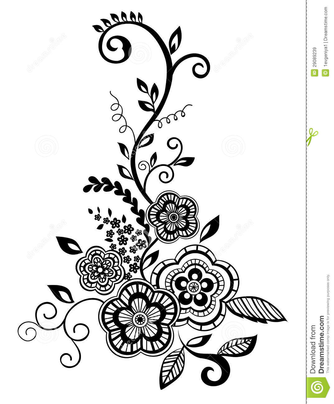 Beautiful Floral Element Black And White Flowers Stock Vector