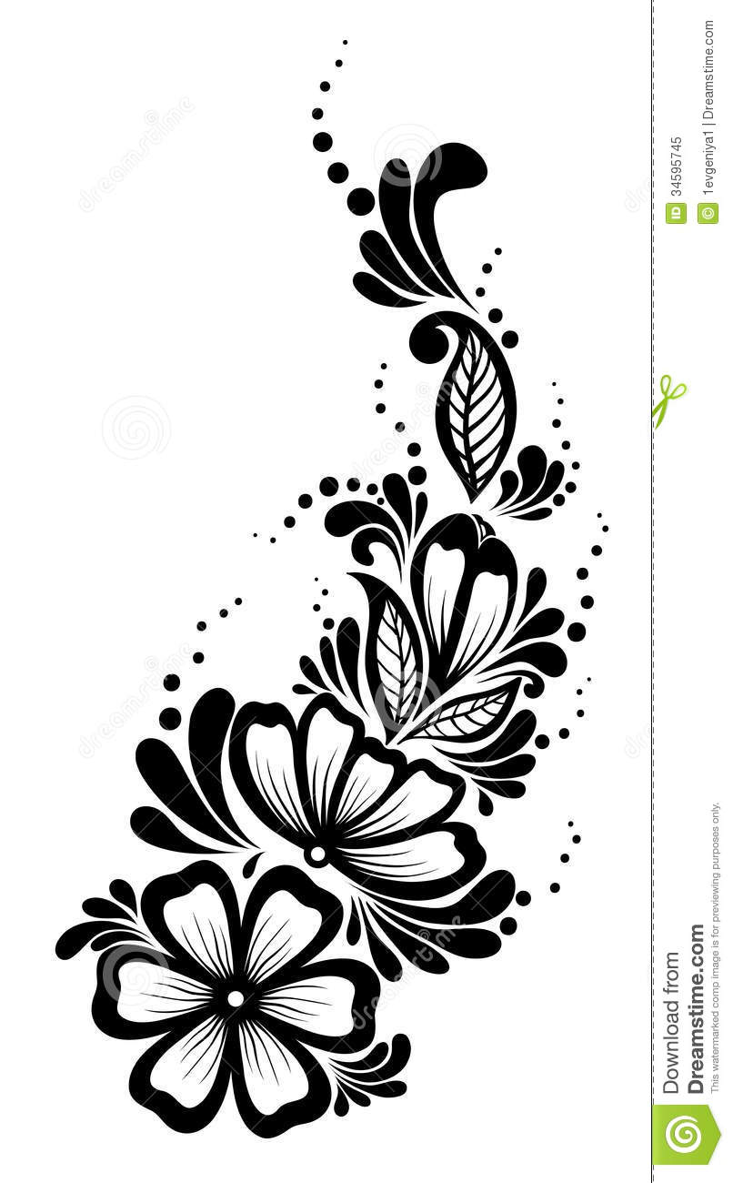 Beautiful Floral Element. Black-and-white Flowers Royalty ...