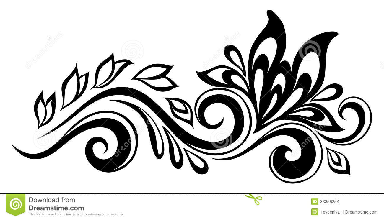 Black And White Design Beautiful Floral Elementblackandwhite Flowers And Leaves