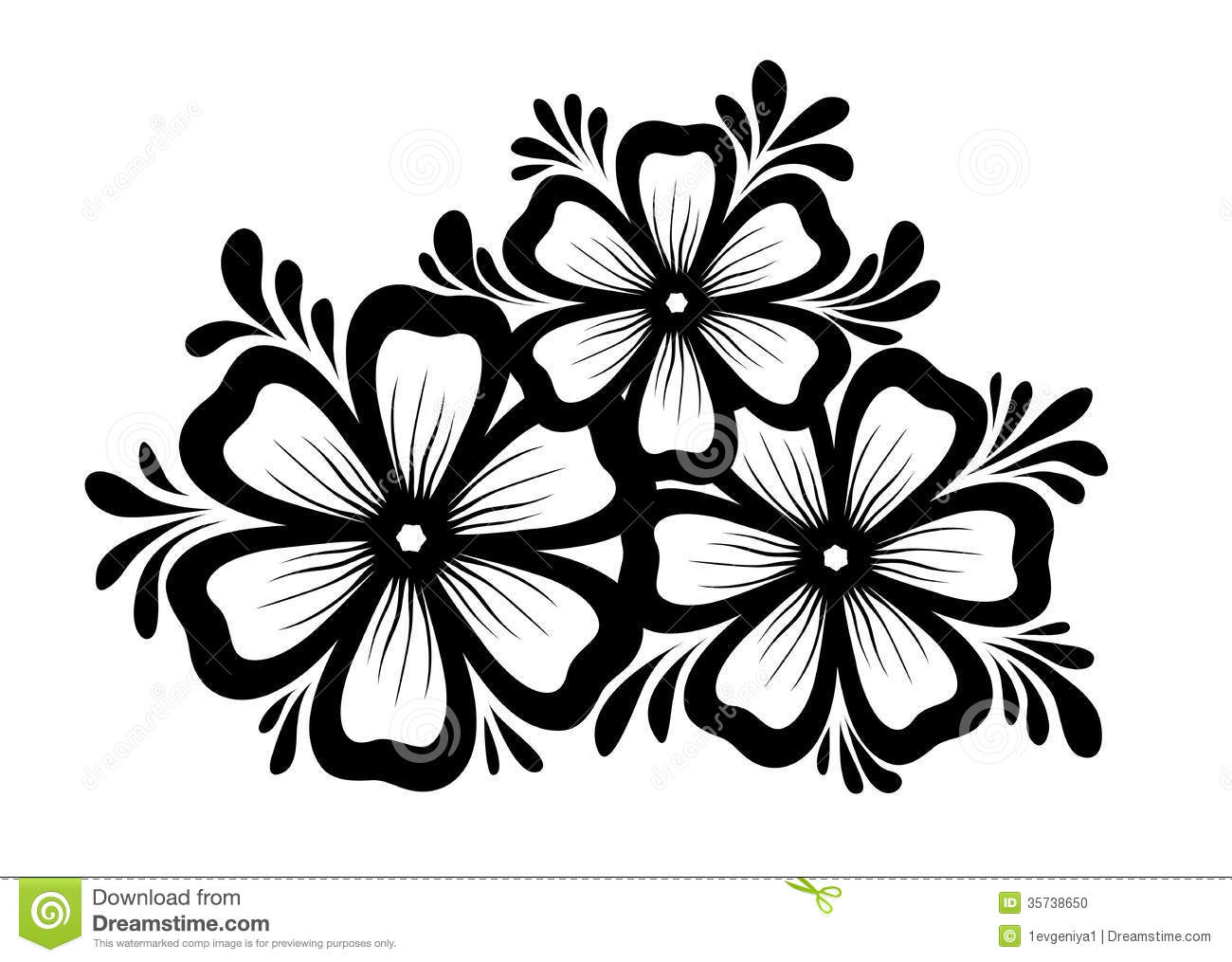 flower designs black and white