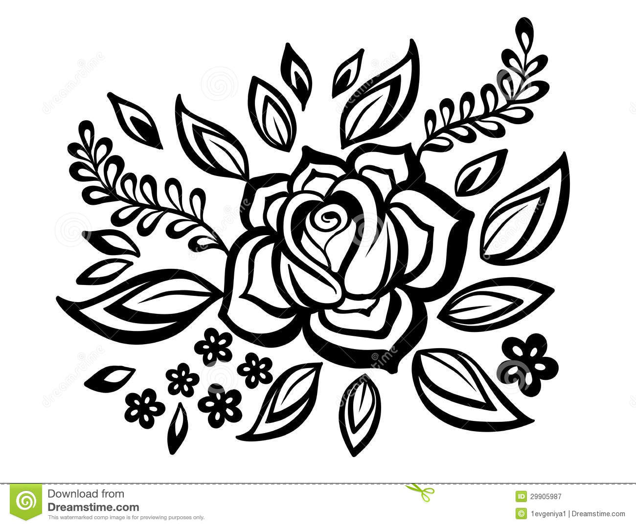 Black And White Flowers And Leaves Design Element With Imitation