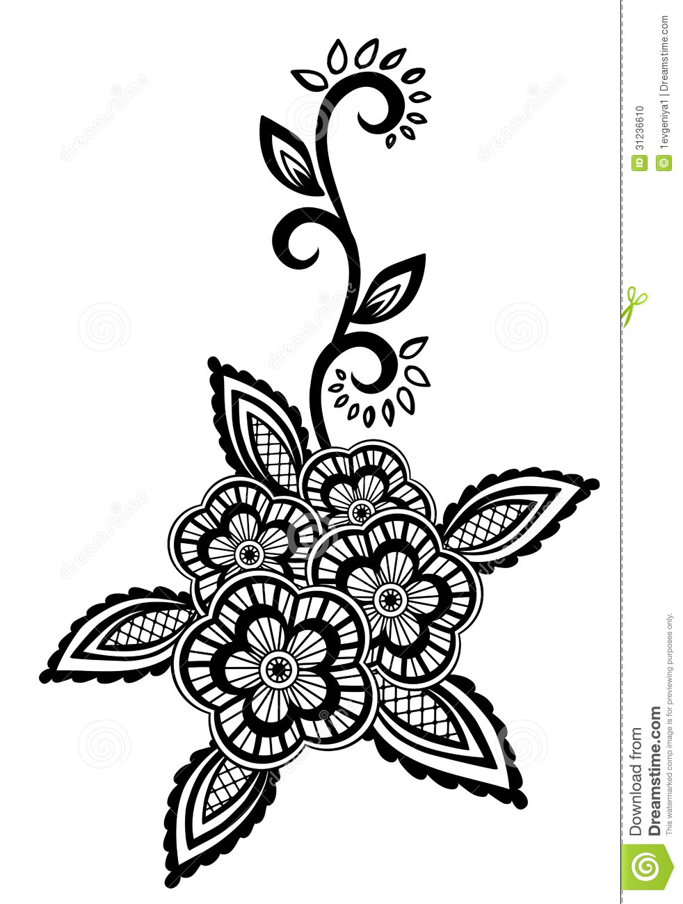 Beautiful Floral Element. Black-and-white Flowers And ...