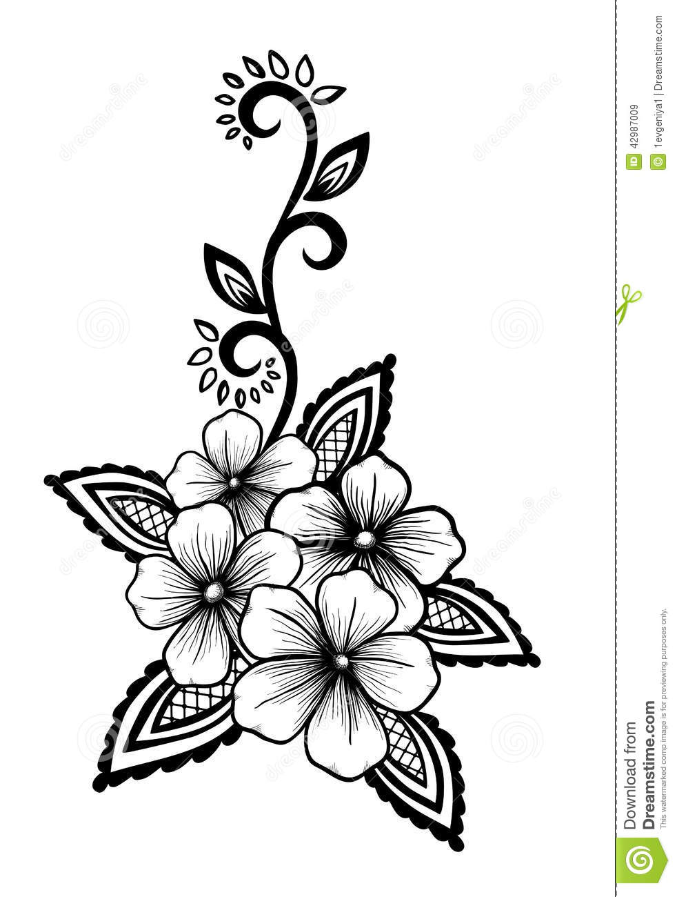 Beautiful Floral Element Black and white Flowers And