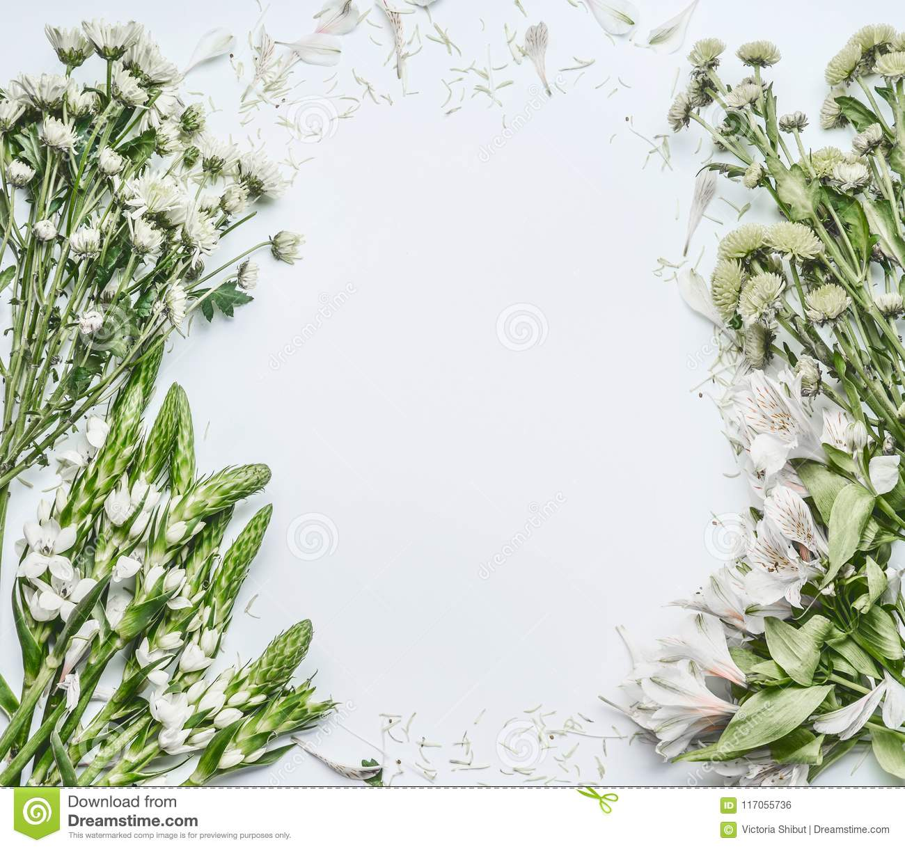 Beautiful floral frame layout with green flowers for bouquet making on white background