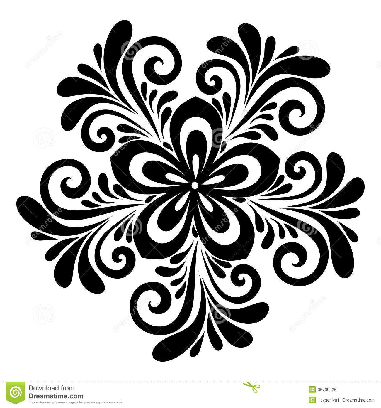 Beautiful Floral Pattern A Design Element In The Old Style Stock