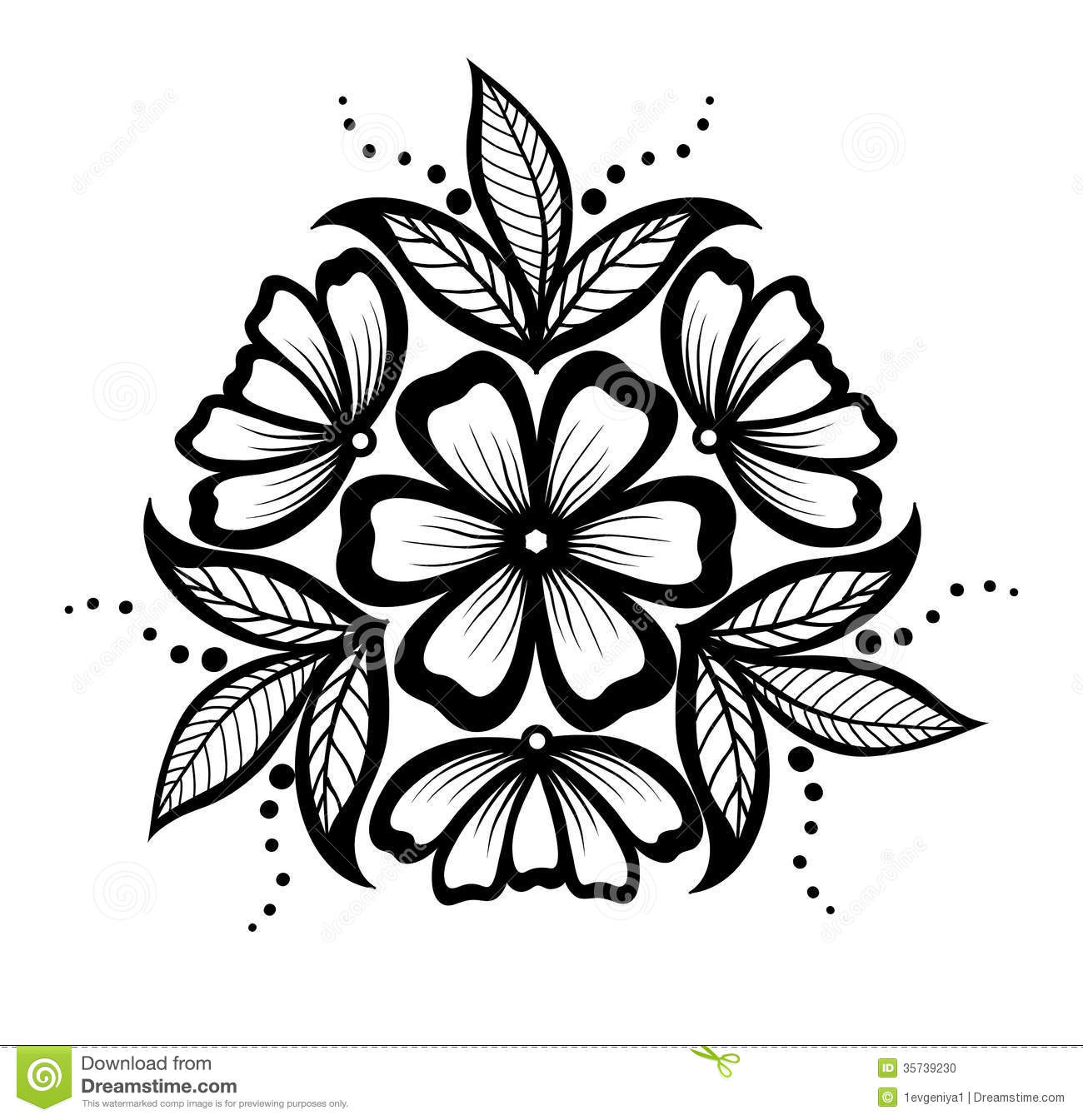 Beautiful Floral Pattern Design Element In The Old Style Stock