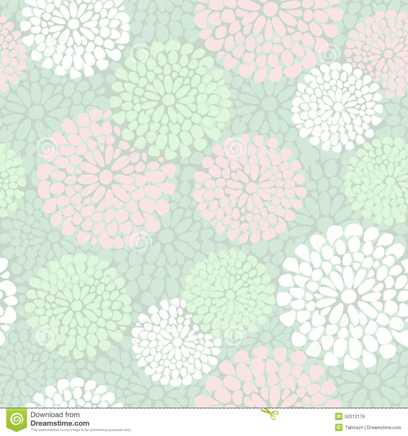 Beautiful Floral Pattern In Pink And Mint Color