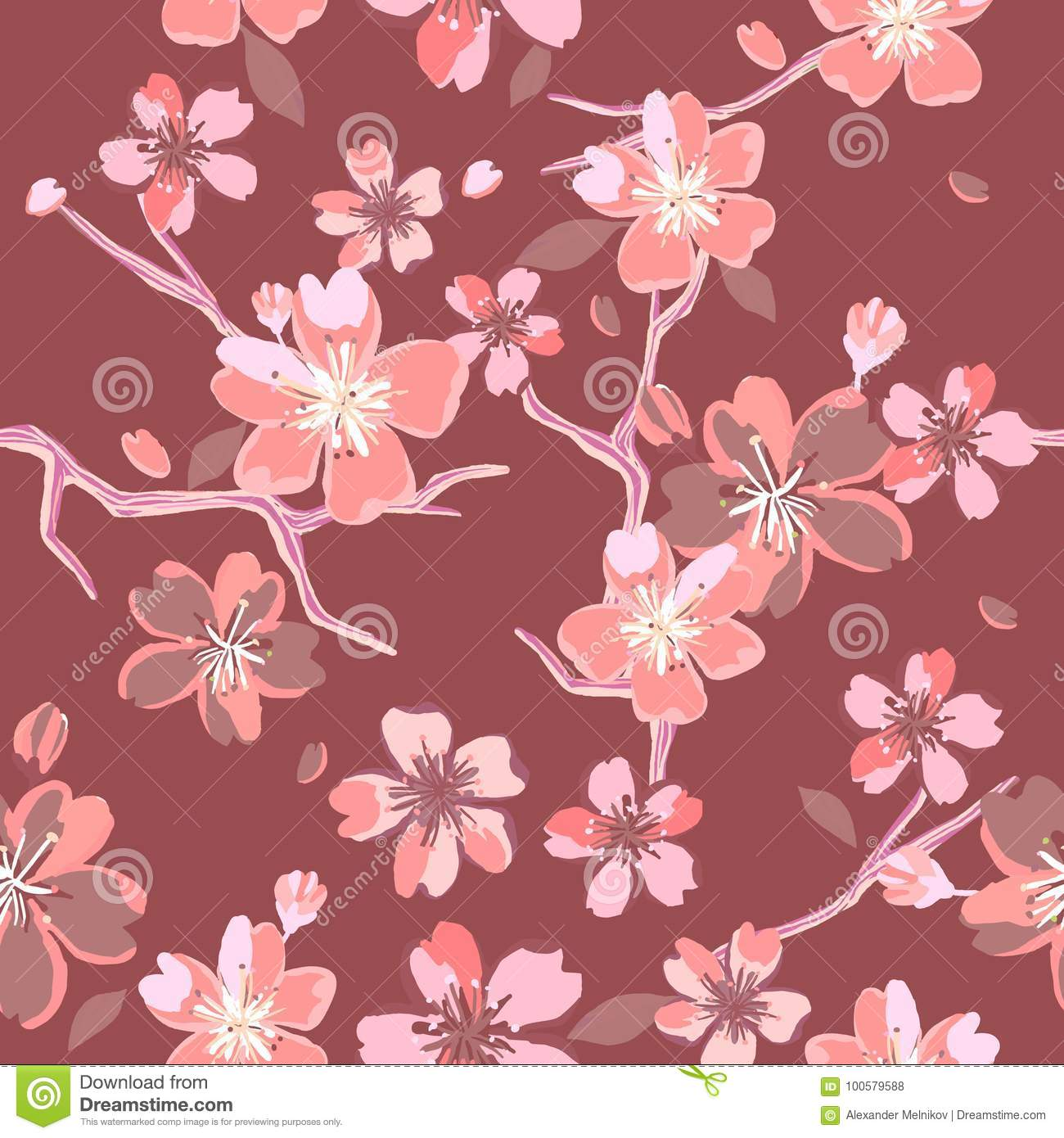 Beautiful floral patterns in japanese style