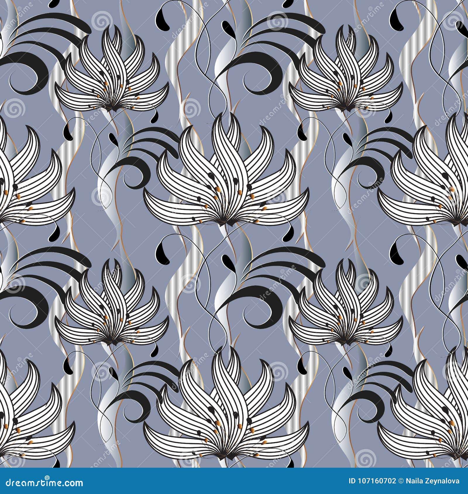 Beautiful Floral Seamless Pattern Abstract Flourish Light Vector