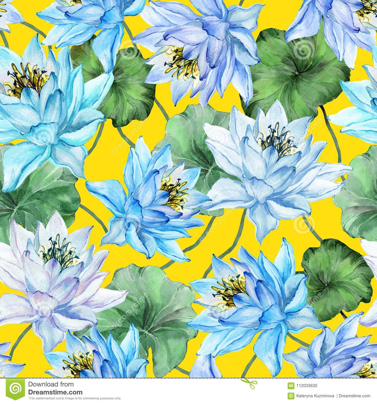 Beautiful Floral Seamless Pattern Large Blue Lotus Flowers With Green Leaves On Yellow Background