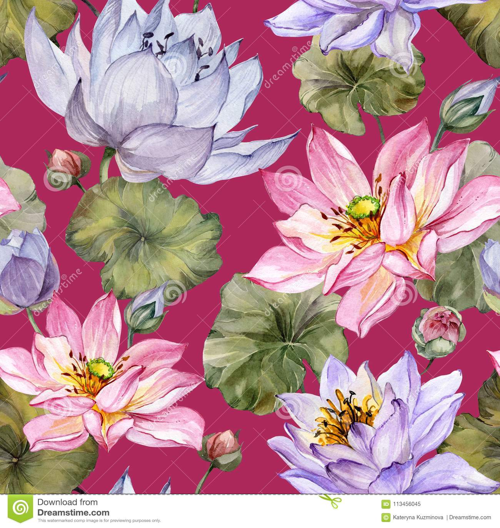 Beautiful Floral Seamless Pattern Large Pink And Purple Lotus