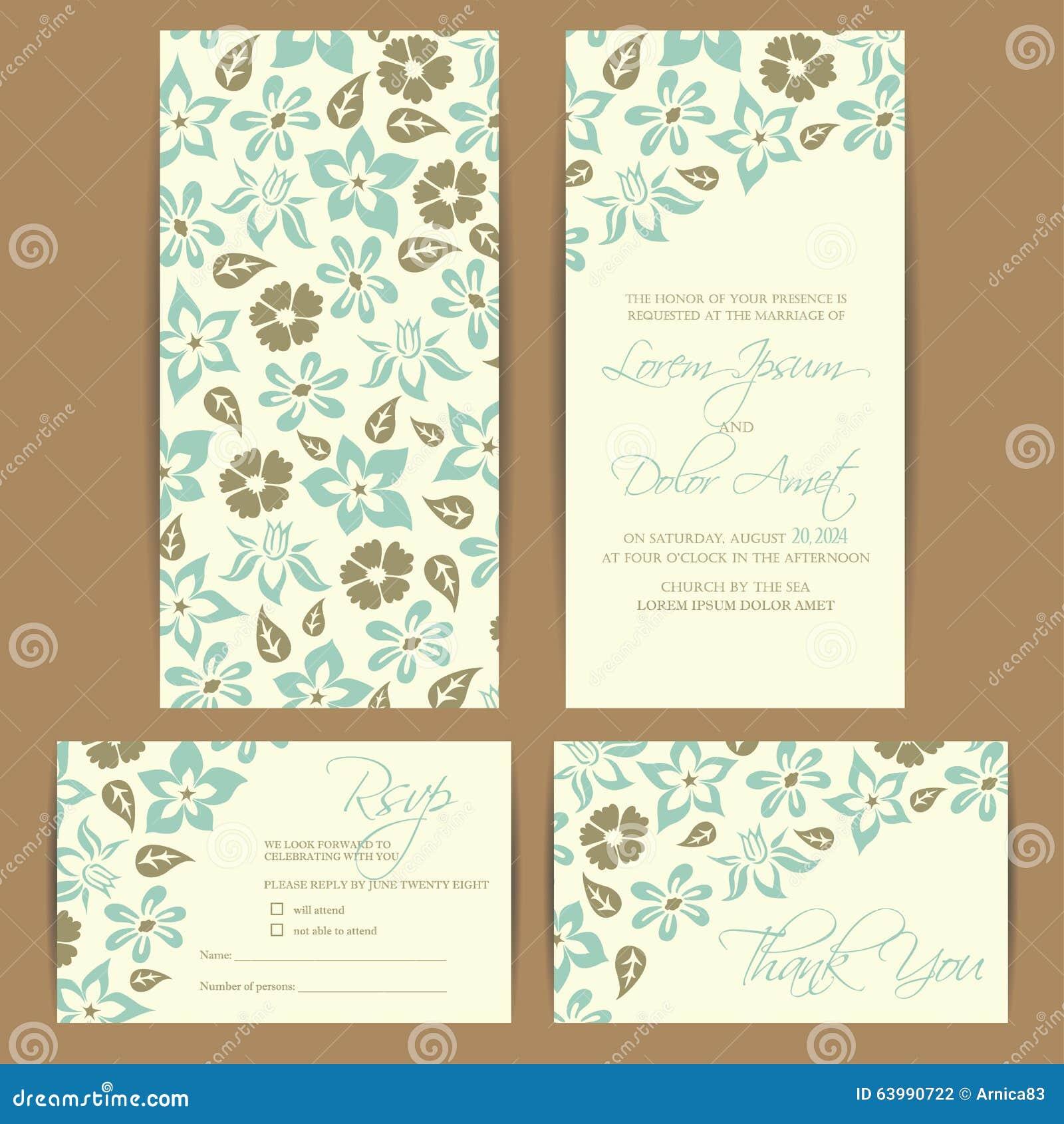 Beautiful Floral Wedding Invitation Card Stock Vector