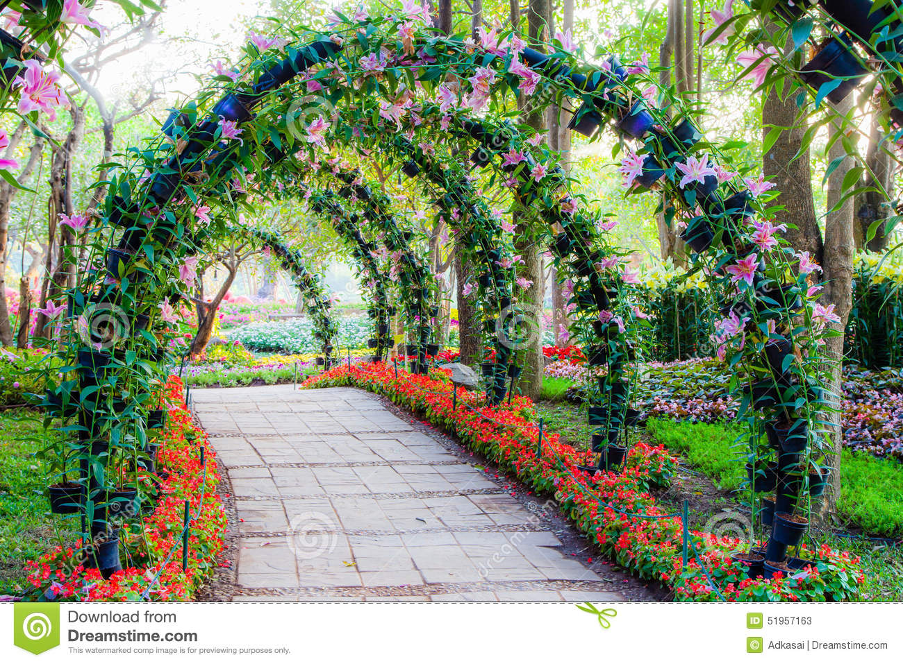 Beautiful flower arches with walkway in ornamental plants for Ornamental garden plants