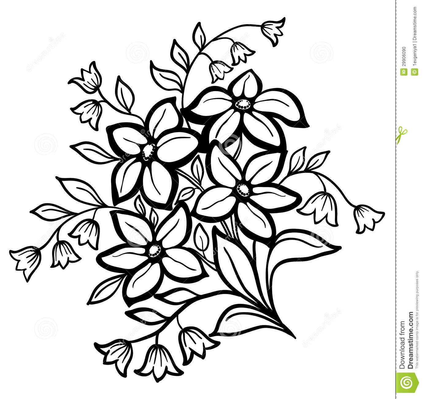 Flower Arrangement, A Black Outline On A White Background Stock Photo ...