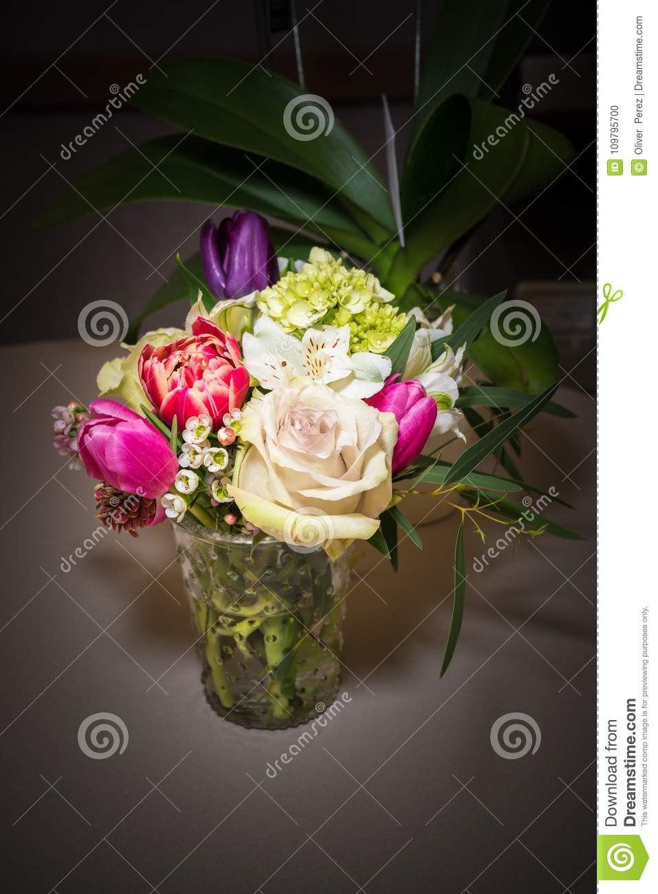 Beautiful Flower Arrangement In Glass Vase Stock Photo Image Of Beautiful Blooming 109795700