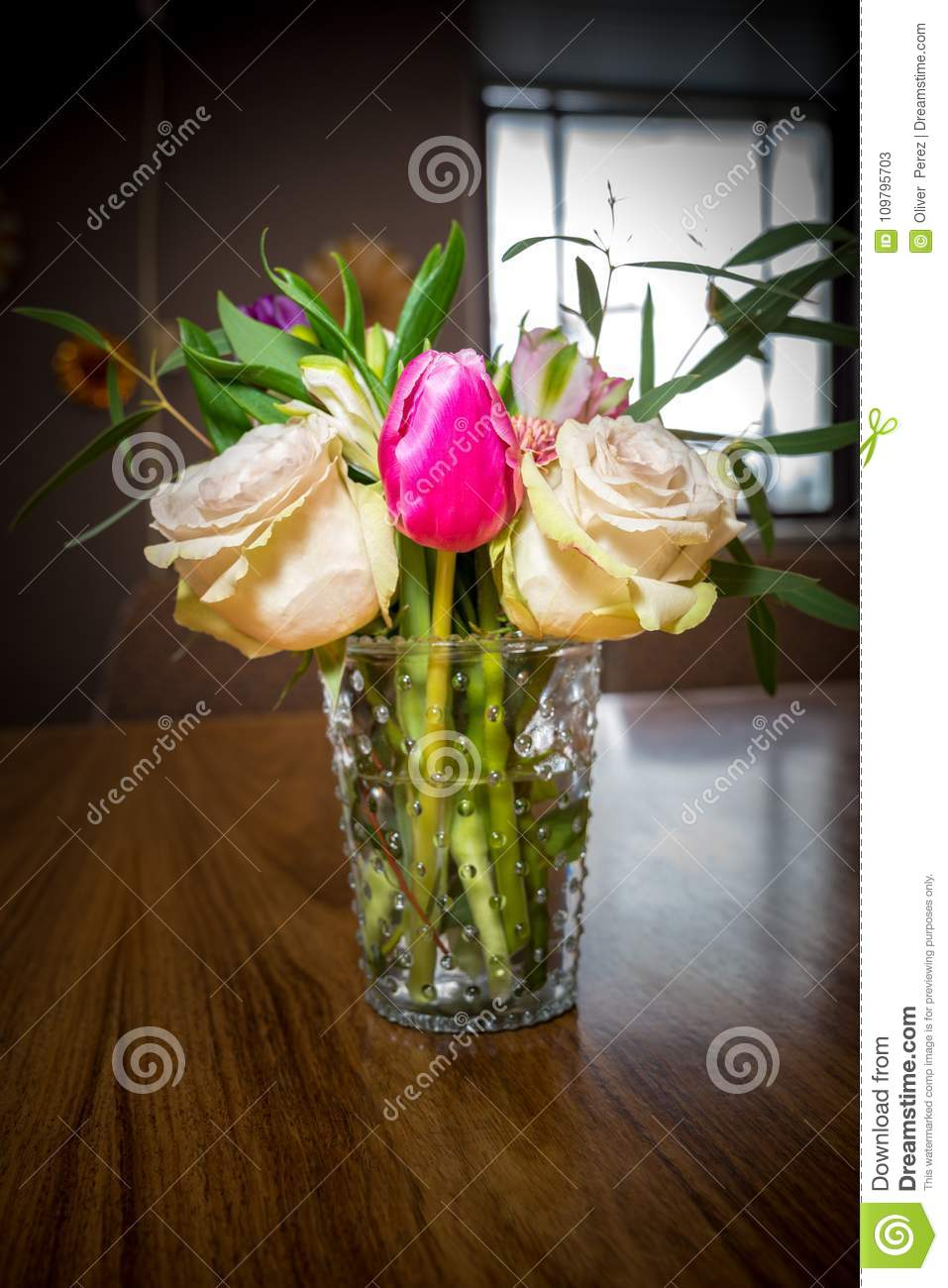 Beautiful Flower Arrangement In Glass Vase Stock Image Image Of Elegance Beautiful 109795703
