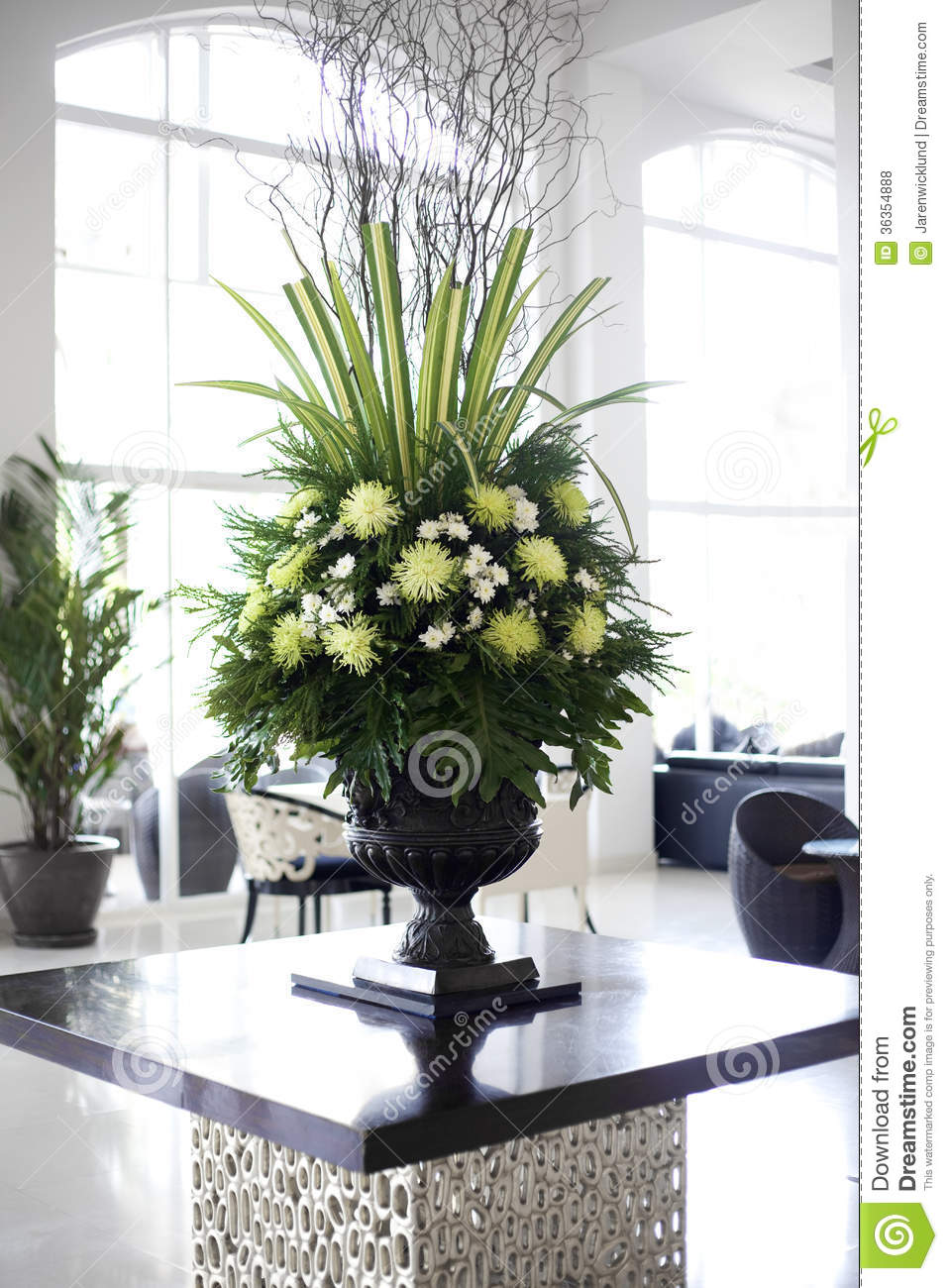 Beautiful Flower Arrangement In Large Foyer Royalty Free