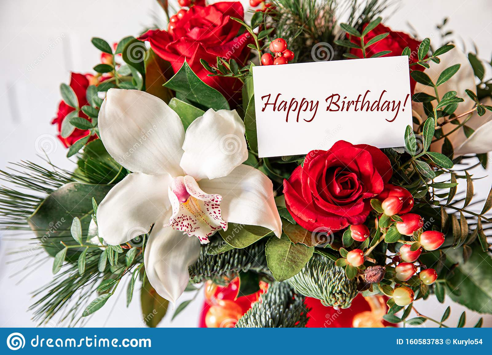 Beautiful Flower Arrangement Of White Orchid Red Roses Natural Spruce Branches With Card Text Happy Birthday Stock Image Image Of Congratulations Congrats 160583783