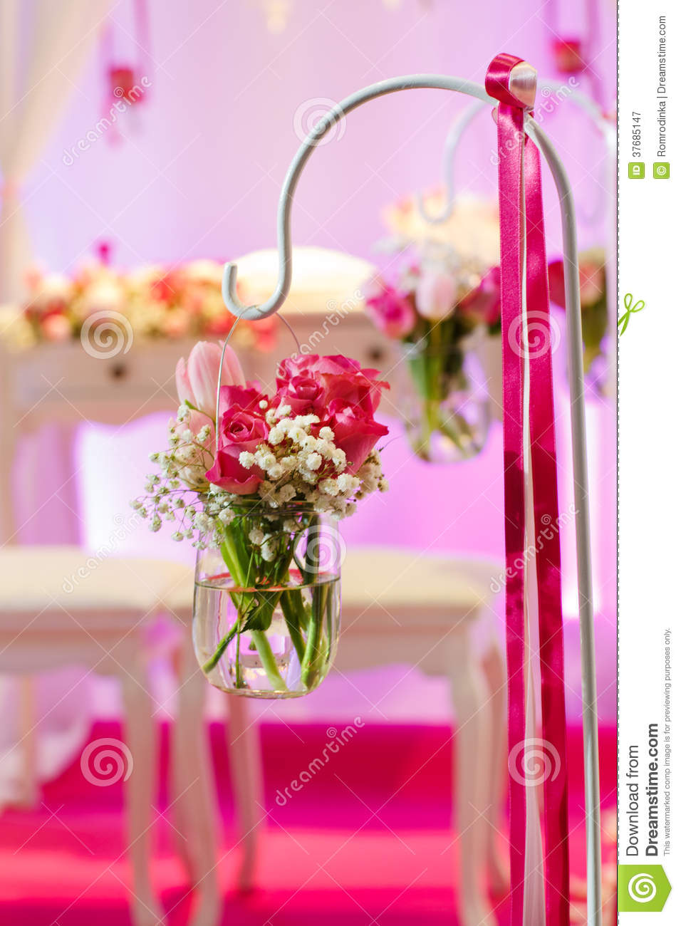 Beautiful Flower Arrangement In White And Pink For Wedding Or Event