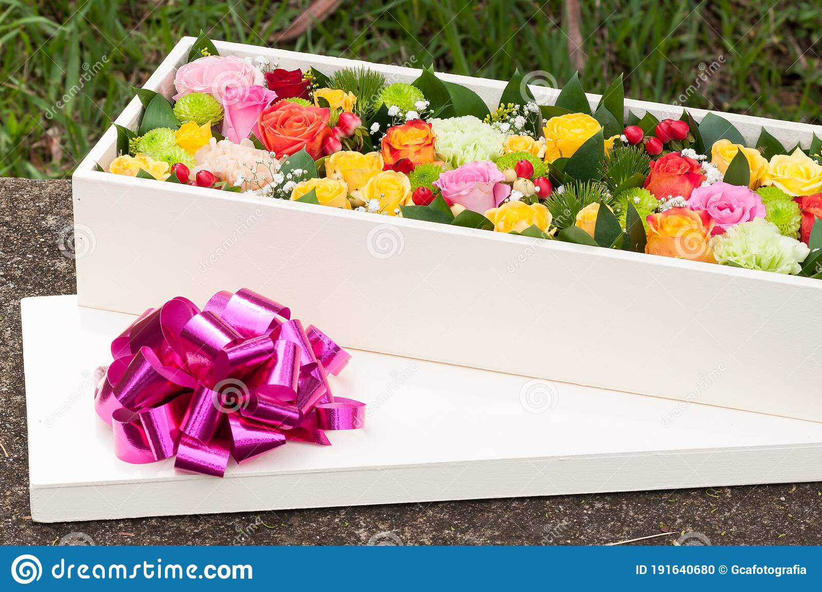 Beautiful Flower Arrangement In Wooden Box Spectacular Gift Stock Photo Image Of Romance Paper 191640680