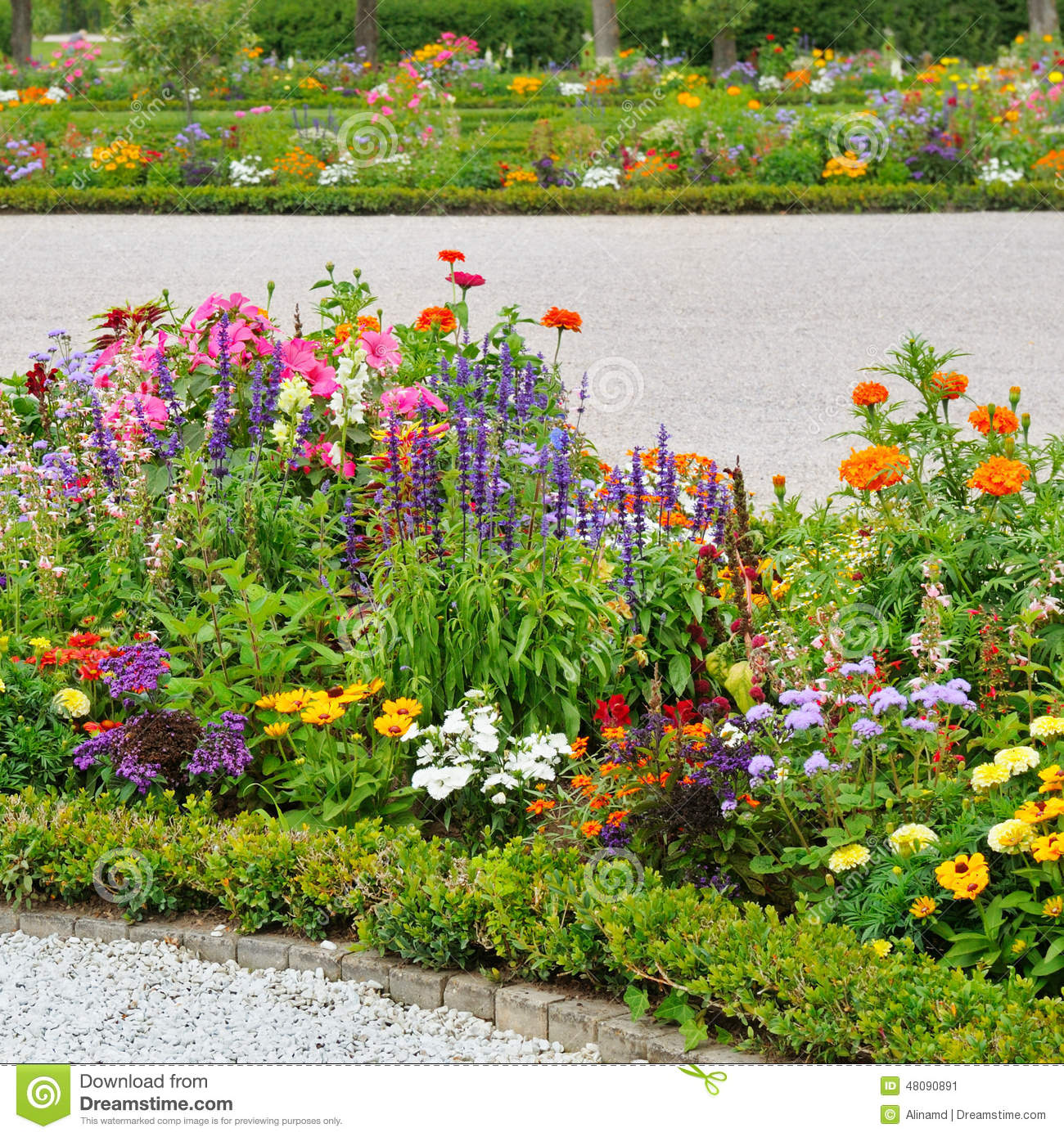 Beautiful flower beds stock photo image 48090891 for Beautiful flower beds