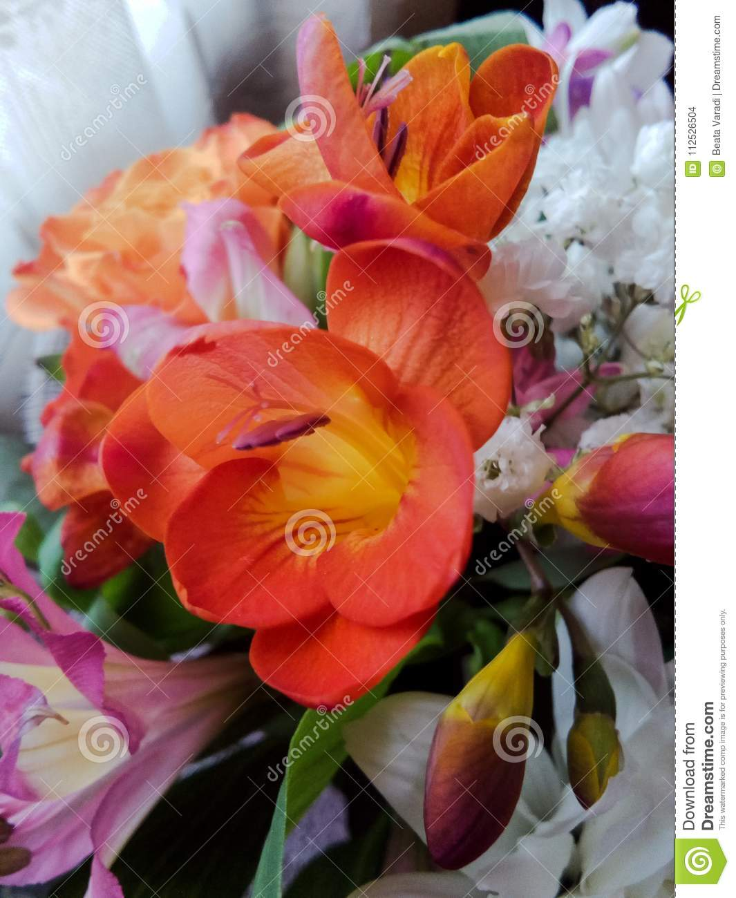 Beautiful Flower Bouquet Close-up With Colorful Flowers Stock Photo ...