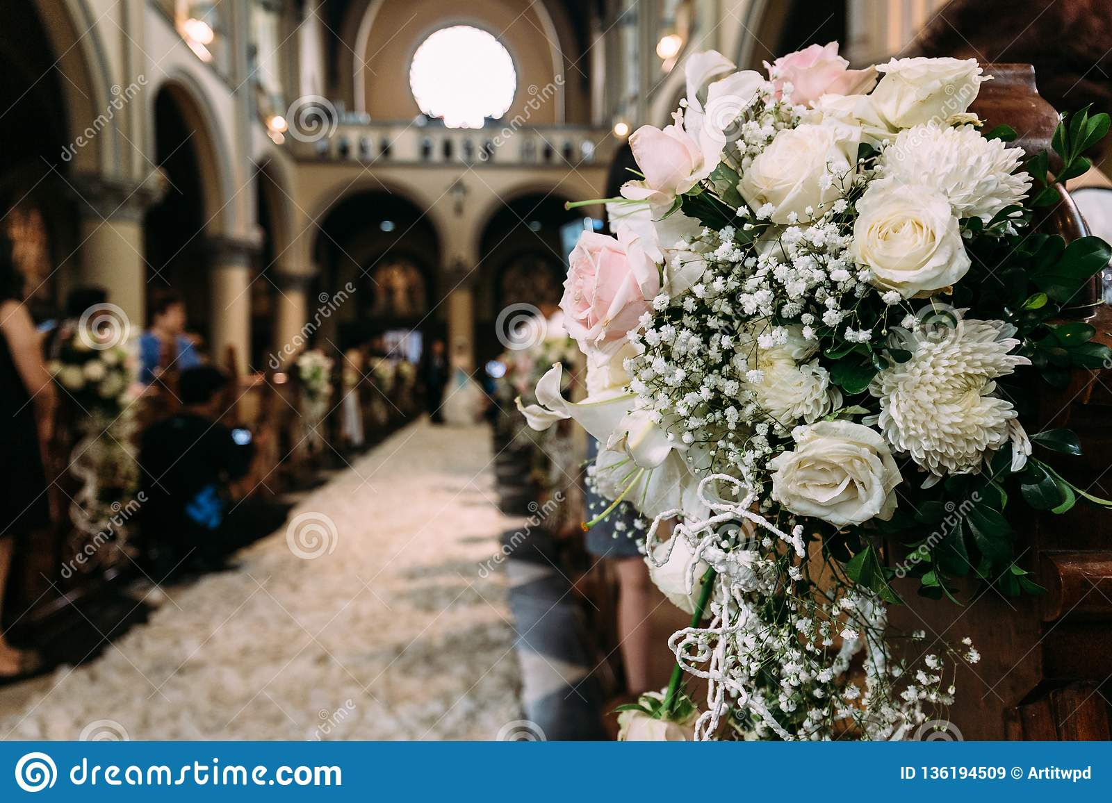 Beautiful Flower Bouquet Decoration For Wedding In A Church