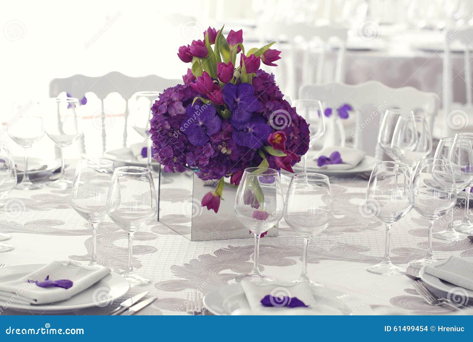 Beautiful Flower Bouquet Decoration On Wedding Table Stock Photo ...