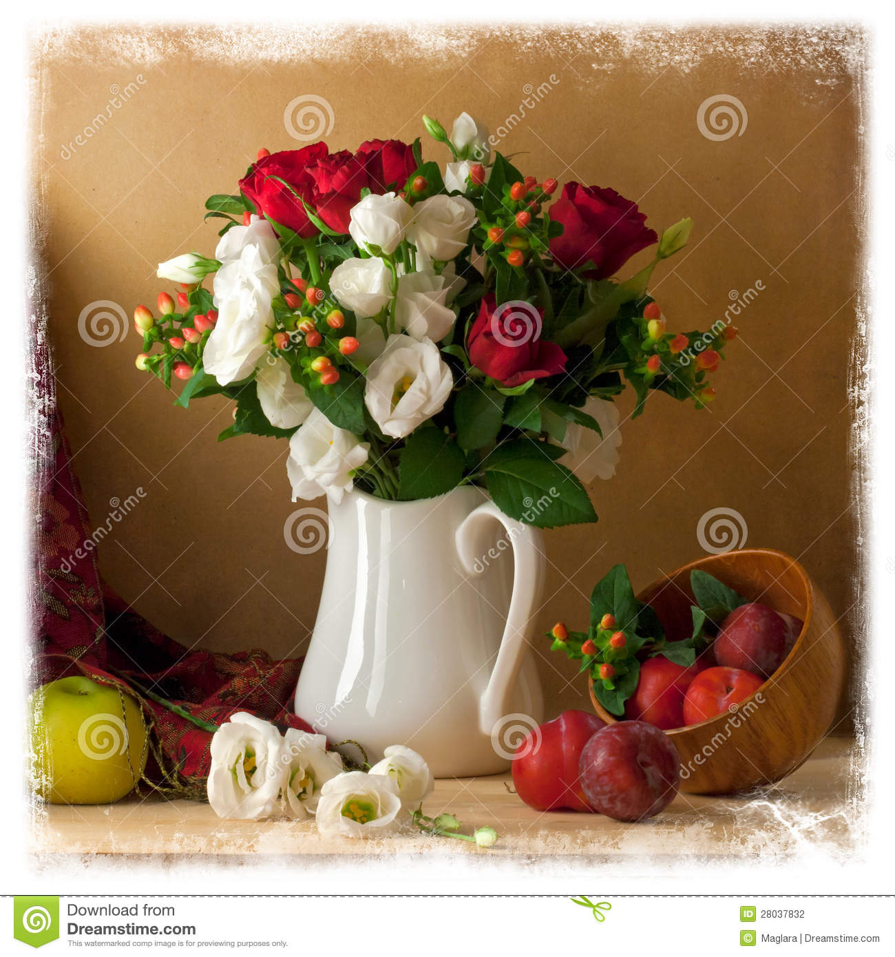 Beautiful Flower Bouquet With Fruits Stock Photo Image Of Card