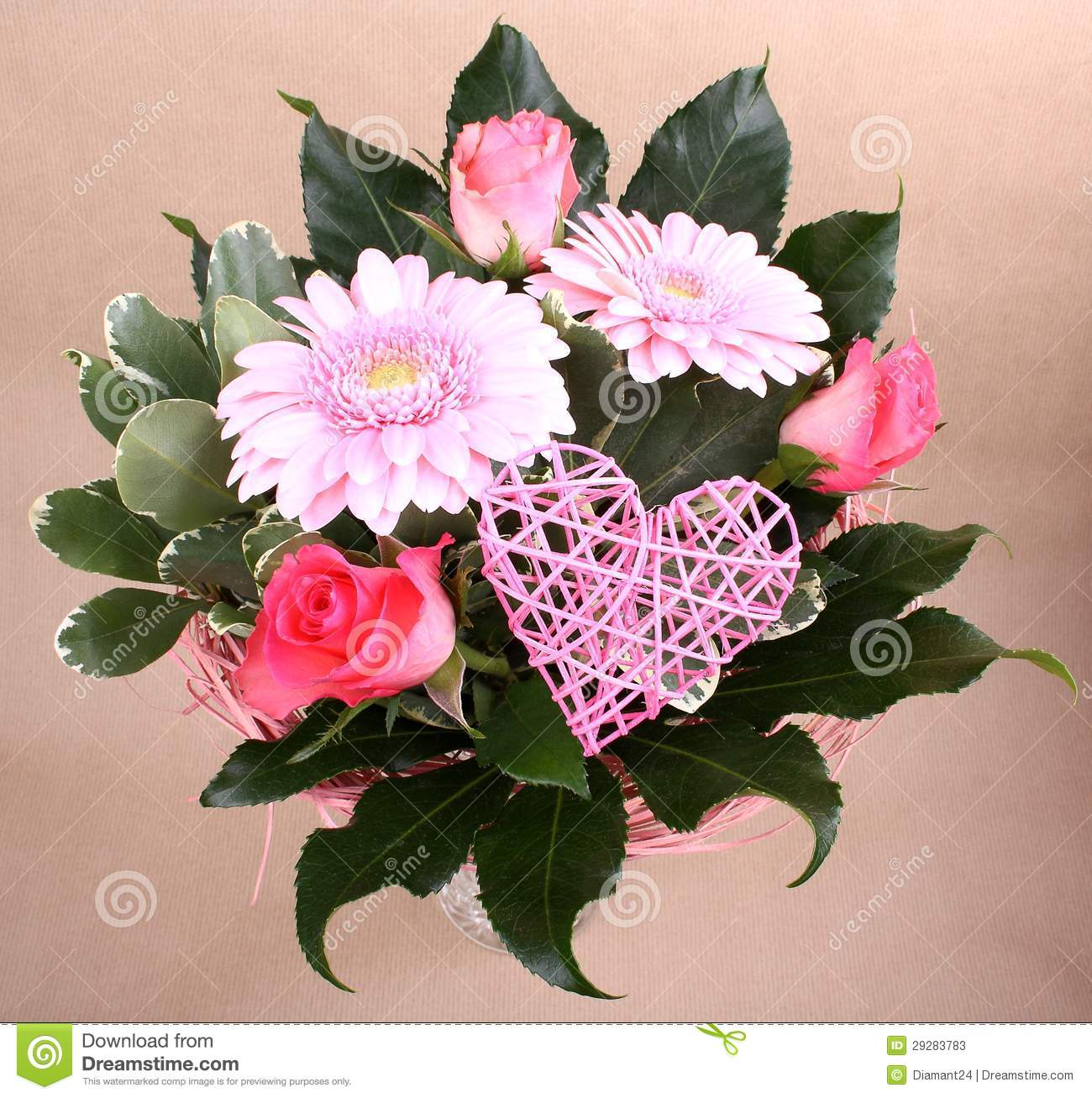 Beautiful Flower Bouquet With Heart And Roses Stock Image - Image of ...