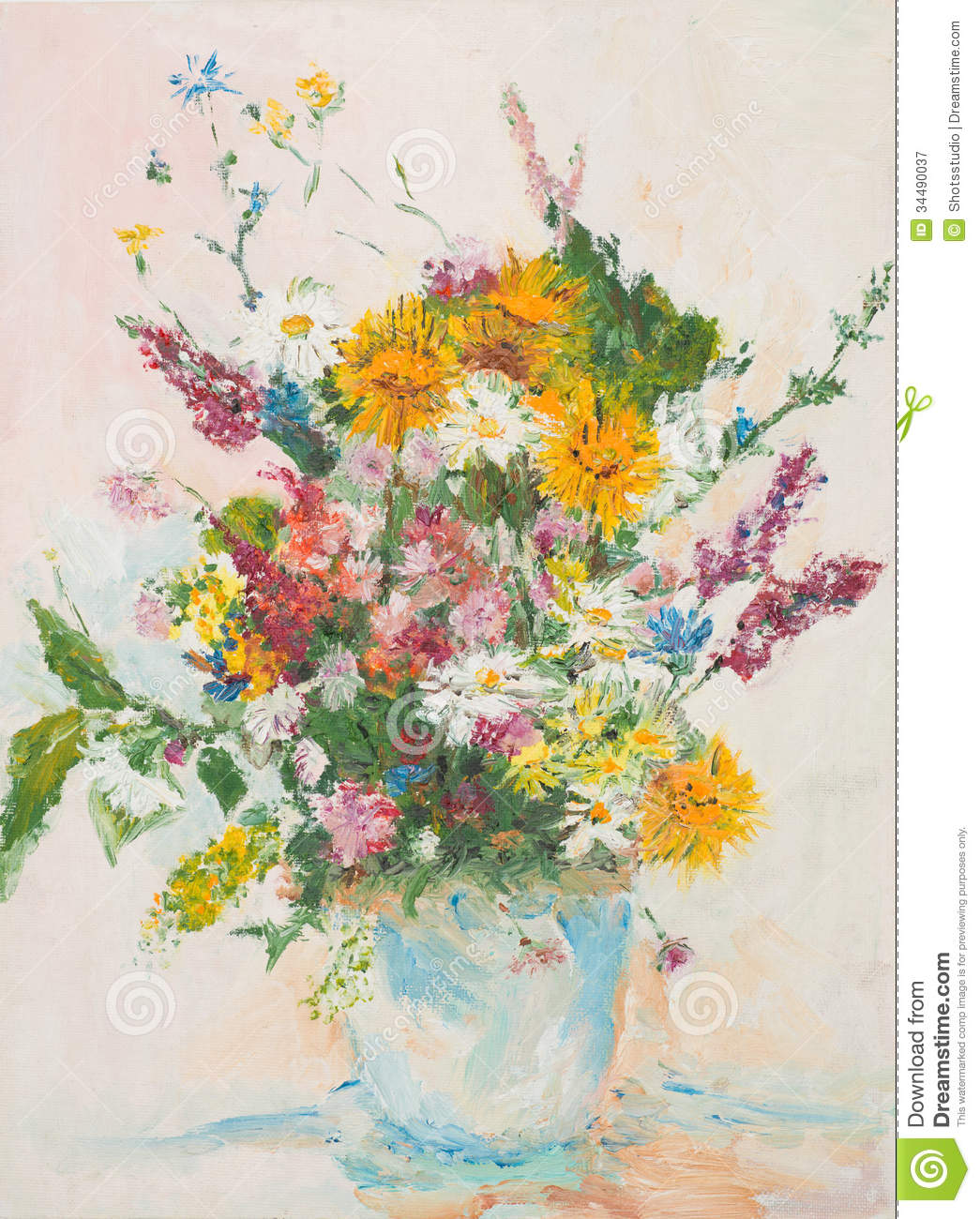 Beautiful Flower Bouquet Oil Painting Stock Illustration