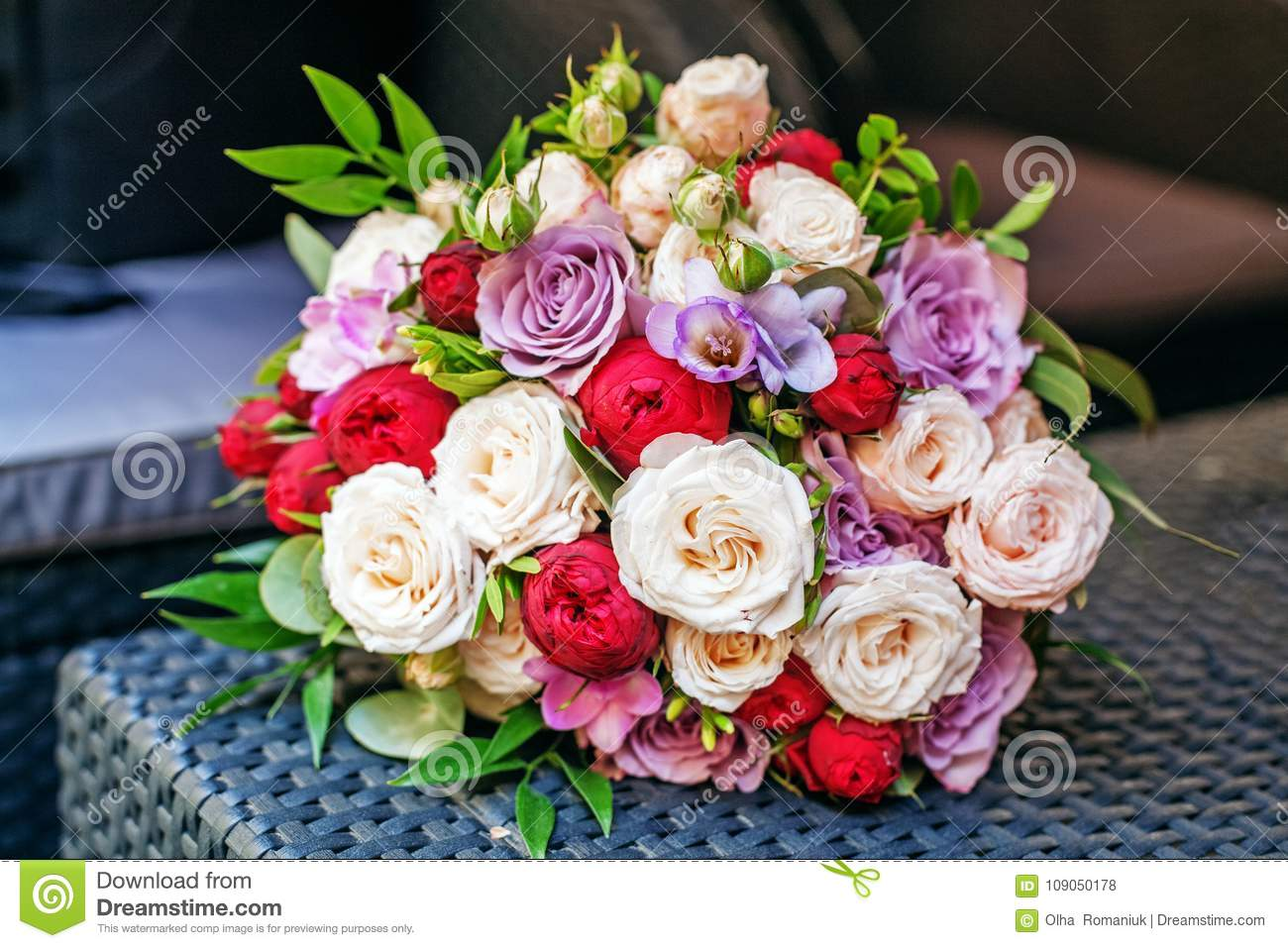 Beautiful Flower Bouquet Romantic Meeting The Concept Of Marri
